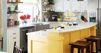 Color in the kitchen is trending now. from Better Homes & Garden, sunny yellow island