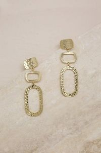 Textured Geometric Drop Earrings in Gold �'�31.99