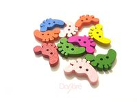 CLEARANCE Pack of 50 Assorted Colours Wood Feet Buttons. Wooden Foot Shape Children Fasteners £7.19