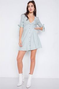 Stripe Casual Office Chic 3/4 Bow Sleeve Mini Dress $21.51