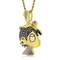 Gold Plated Iced Out Cartoon Rapper Pendant Hip Hop Bling Rope Chain Necklace £25.80