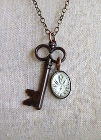 Vintage Key and Clock Necklace Christmas Gift by IndustrialWhimsy, $14.00