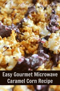 When you can make gourmet caramel corn in ten minutes using only your microwave, you know you have a winning recipe! This easy gourmet microwave caramel corn re