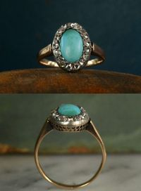 1880s Persian Turquoise and Rose Cut Diamond Ring, 18K, Silver