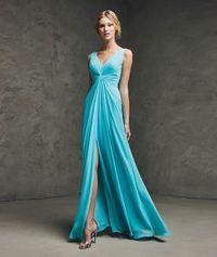 V Neck Floor Length Blue Chiffon A Line Maternity Evening Dress