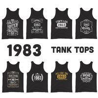 1983 Birthday Gift, Vintage Born in 1983 Tank tops for men Women 37th Birthday Tops for him her Made in 1983 Tanks 37 Year Old Birthday $19.99