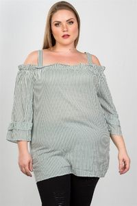 20% discount with BESTDEAL at checkout! Ladies fashion plus size boho striped cold-shoulder top $21.50