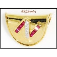 "Design""N"" Natural Ruby Diamond Pendant 18K Yellow Gold [P0086]"
