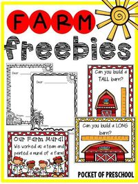 Farm Math and Literacy Centers (Freebies) for preschool, pre-k, and kindergarten