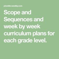 Scope and Sequences and week by week curriculum plans for each grade level.