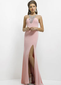 Pink Sexy Open Back Sparkly Beaded Long Evening Dress