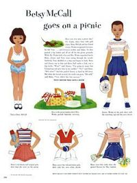 McCall Betsy. Vintage Paper doll, printable picnic paper doll boy and girl