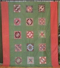 Oh the Fabrics! Large Antique PA c1860 1880 Civil War Era Quilt Copper Tone Madders Red Green   eBay Vintageblessings