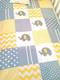 Elephant Baby Crib Quilt and Pillow in Yellow by AlphabetMonkey, $185.00