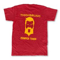 """THIGHBRUSH® TACTICAL - ARMED FORCES COLLECTION - """"SEMPER THIGH"""" Men's T-Shirt - Scarlet and Gold"""