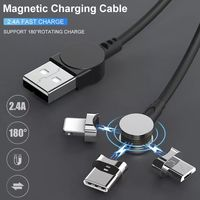 Bakeey 3 In 1 180 Degree Rotating Type C Micro USB 3.5A Fast Charging Rotating Magnetic Data Cable For iPhone 11 Pro XS Huawei P30 Pro Mate 30 Xiaomi Mi9 9Pro S10+ Note10