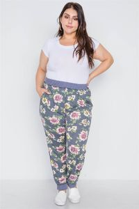Plus Size Blue Floral Print Knit Joggers Pants $19.01