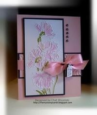 handmade card ... focal point: Flower Garden embossing folder ... luv how the embossed flowers are inked ... pink and white with black mats and brads ... Stampin' up!