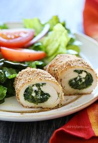 Chicken cutlets stuffed with spinach, feta and ricotta, then breaded and baked to perfection! I love making stuffed chicken breast as many as you probably