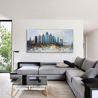 Framed wall art skyline of Philadelphia oil painting on canvas original skyline abstract painting Palette knife heavy texture Large wall art $189.00