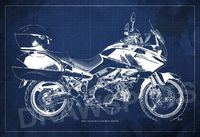Motorcycle poster SUZUKI V-Strom 1000 SE 2012 Blueprint, Art Print 14.00x9.63 In and larger sizes, Motorcycle Art print,Drawing for men cave $35.00