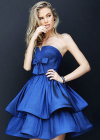Classic Strapless Small V-cut Ruched Bodice Tiered Navy Cocktail Dress