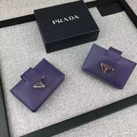 Prada 1M1211 Triangle Logo Saffiano Leather Card Wallet In Purple