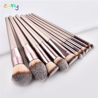 �Ÿ˜�10pcs/set Champagne makeup brushes set for cosmetic foundation powder blush eyeshadow kabuki blending make up brush beauty tool�Ÿ˜� $12.21