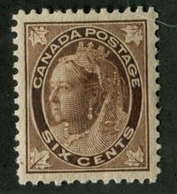 Canada #71 (SG#147) 6c Brown 1897-1898 Maple Leaf Issue on Vertical Wove Paper VF-80 LH $79.99