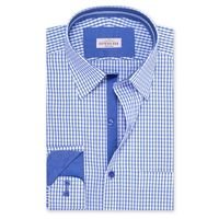Create a stylish look with this Oxford Men Blue And White Check shirt. Woven in Egyptian cotton. this check shirt has a fine finish.  �€� 100%Cotton  �€� Classic collar  �€� French cuff  �€� Oxford Men  �€� Mach...