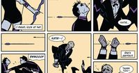 Action from Hawkeye #2 by David Aja (artist) and Matt Fraction (writer). Kate Bishop and Clint Barton flee the theatrical bad guys.