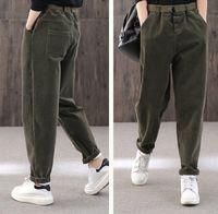 Winter solid color thick warm corduroy casual pants,long plus velvet high waist women's pants,elastic waist warm pants,90s Green pants $75.00