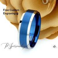 Mens Wedding Band Tungsten Blue, 8mm Blue Tungsten Promise Ring For Men, Mens Blue Mens Tungsten Ring, Couple Gift $80.00