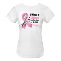I Wear a Pink Ribbon For The Hero in My Life on Breast Cancer Awareness Women's Fitted T-Shirts featuring a pink ribbon with floral elements to show your support for your hero by BreastCancerApparel.Net.