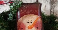Primitive Snowman, Vintage Cow Bell, Snowman Bell, Country Snowman, Painted Snowman, Believe, Hand Painted, Vintage ow Bell by FlatHillGoods on Etsy