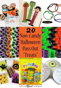 20 Ideas for Non-Candy Halloween Pass Out Treats. Pass out these favors rather than candy this Halloween. These are great ideas, and cheap too!
