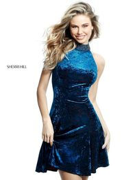 51404 Beaded High Neck Keyhole Back Teal Velvet Dress For Homecoming by Sherri Hill