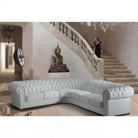 Vig Furniture Paris-1 White Tufted Leather Sectional Sofa
