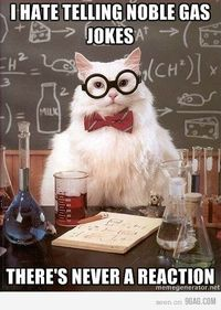 Chemistry Cat: I hate telling noble gas jokes. There's never a reaction.