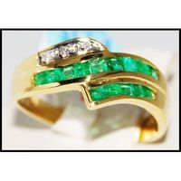 18K Yellow Gold Unique Gemstone Diamond Emerald Ring [R0009]