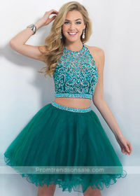 Halter Neck Two Piece Beaded Tulle Layered Evergreen Cocktail Dress