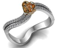 Curved Engagement Ring with 18K Rose Gold Rose Flower White Gold Band Flower Ring Promise Ring Unique Engagement Ring For Her $741.00