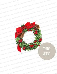 Holly Wreath Clipart, Holly Wreath Christmas PNG, Digital Graphic, Instant download, Vintage Christmas Clip Art Images