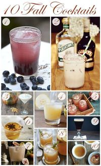 Cozy up this fall with one of these seasonal beverages! {1} This Girl Walks Into A Bar Blueberry Cinnamon Whiskey Cocktail {2} A Beautiful Mess Peppermint White Russian {3} The Blond Cook Spiced Pumpkin Cocktail {4} Two Tarts Vanilla, Pear and Vodka Cockt...