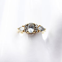 14K Yellow Gold Ring Featuring Aquamarine Gemstones & Tiny Diamonds, March Birthstone, Vintage 1960s 1970s Jewelry $375.00