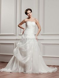 EMBELLISHED STRAPLESS SATIN WEDDING DRESS WITH INTRICATE RUCHING