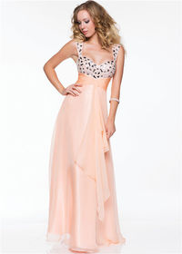 Long Chiffon Ruched Beaded Prom Dress by Nina Canacci 4038
