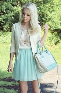 Chic and simple. I must have the bag Mint & Lace (by Tanita Ley) http://lookbook.nu/look/3494081-Mint-Lace