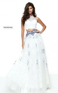 Beads White Sherri Hill 50977 Lace Two Piece Long Prom Dress