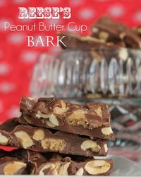 TweetReese's Peanut Butter Cup Bark-sure to satisfy the chocolate and peanut butter lover. I wasn't going to post this bark. It's good, I mean really good. And
